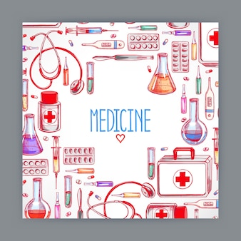 Cute greeting card with medical supplies. hand-drawn illustration