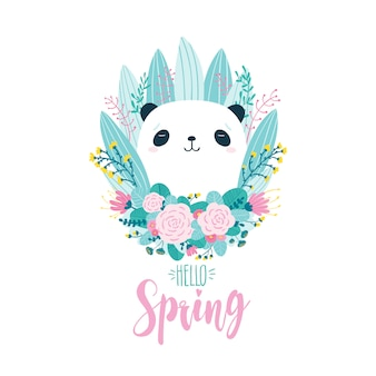 Cute greeting card with a panda bear in flowers and herbs i
