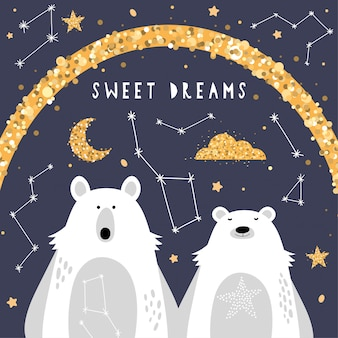 Cute greeting card with polar bears