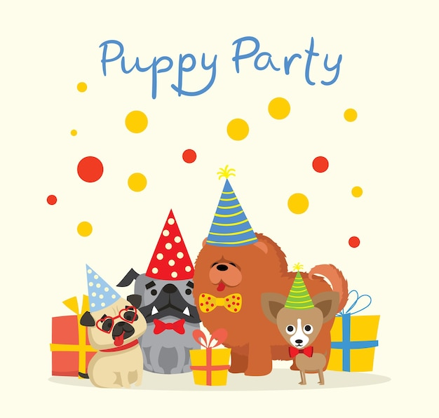 Cute greeting card with presents and puppies dog in the flat style