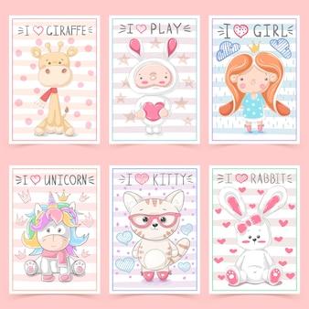 動物と子供のためのかわいいグリーティングカード