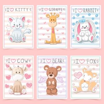 Симпатичные поздравительные открытки для детей с животными