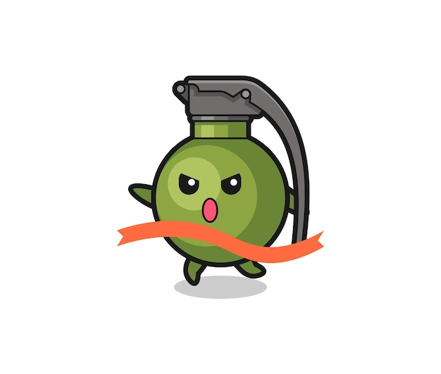 Cute grenade illustration is reaching the finish , cute style design for t shirt, sticker, logo element