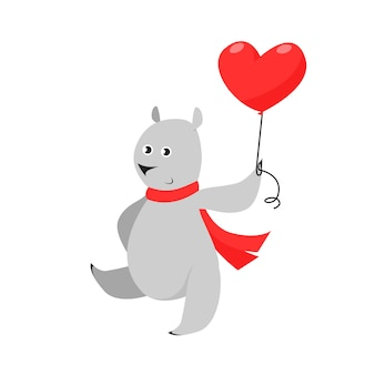 Cute grey bear in red scarf carrying heart shaped air balloon
