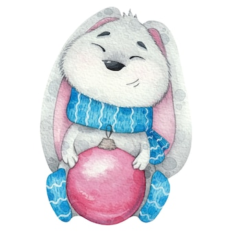Cute grey bunny in scarf and with christmas tree toy. watercolor illustration