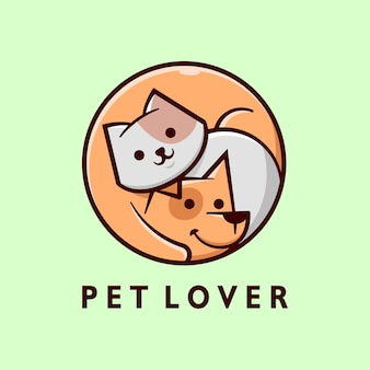 Cute grey cat and brown dog cartoon logo