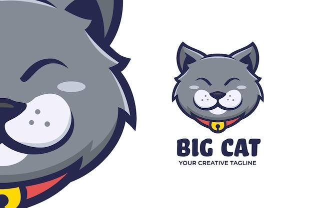 Cute grey cat mascot logo character
