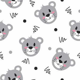 Cute grey mouse illustration pattern