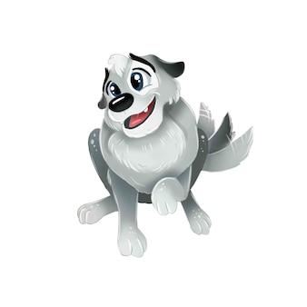 Милый серый щенок сидит и виляет хвостом. вид сверху изолированное изображение