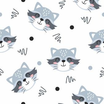 Cute grey raccoon with line art pattern illustration