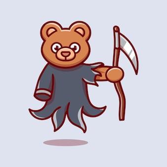 Cute grim reaper bear illustration