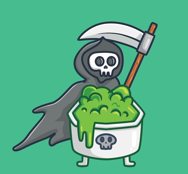 Cute grim reaper brings a cup of poison cartoon halloween concept isolated illustration flat style
