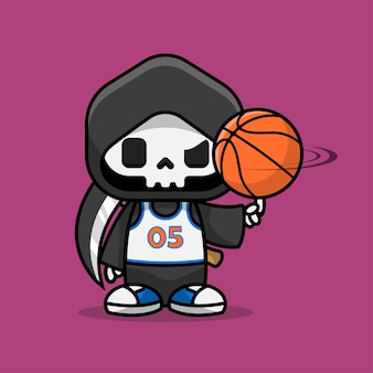 Cute grim reaper cartoon character playing basket ball with the uniform numbered zero five illustration