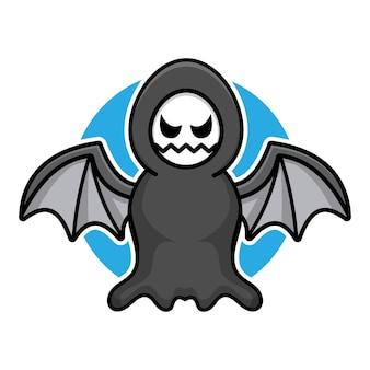 Cute grim reaper cartoon vector illustration