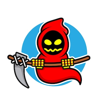 Cute grim reaper character halloween concept