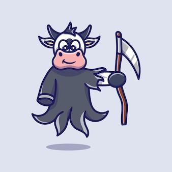 Cute grim reaper cow illustration