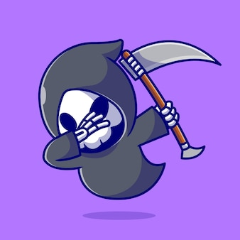 Cute grim reaper dabbing cartoon icon illustration.