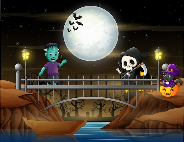 Cute a grim reaper, frankenstein and cat in the bridge