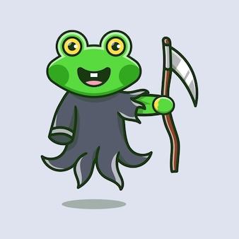 Cute grim reaper frog illustration