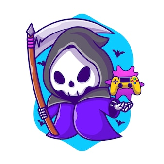 Cute grim reaper gaming with scythe cartoon illustration. halloween gaming icon concept