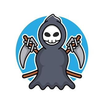 Cute grim reaper holding scythe cartoon vector illustration halloween concept