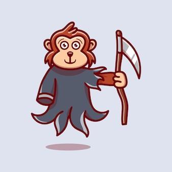 Cute grim reaper monkey illustration