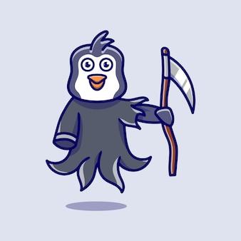 Cute grim reaper penguin illustration