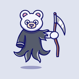 Cute grim reaper polar bear tiger illustration