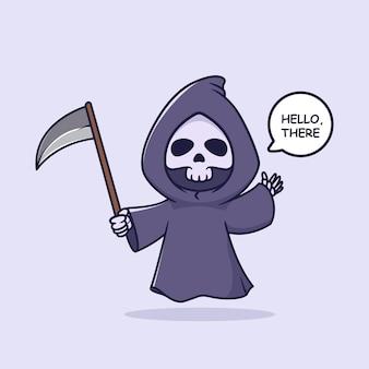 Cute grim reaper waving hand