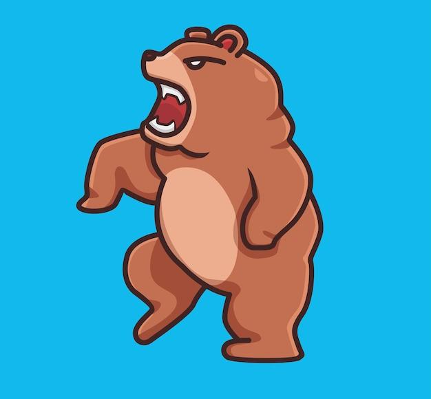 かわいいハイイログマ茶色の怒っている立っています。漫画の動物の性質の概念孤立したイラスト。ステッカーアイコンデザインプレミアムロゴベクトルに適したフラットスタイル。マスコットキャラクター