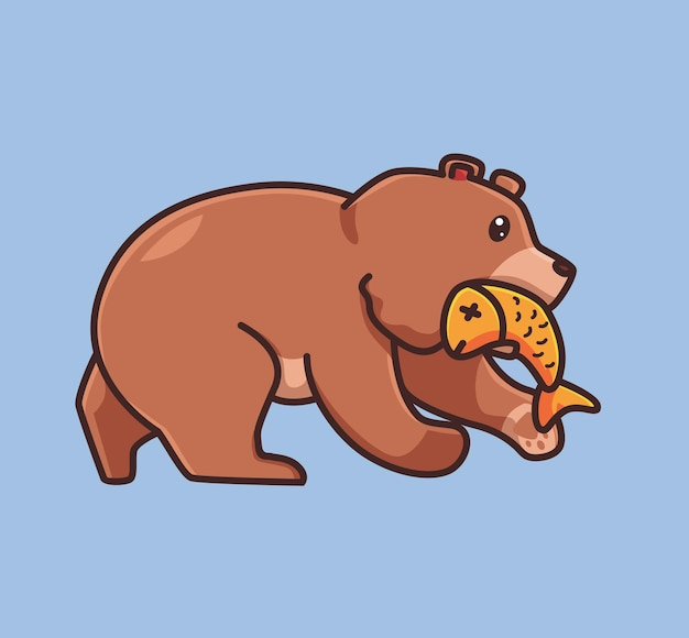 Cute grizzly bear brown catching a salmon fish on river. cartoon animal nature concept isolated illustration. flat style suitable for sticker icon design premium logo vector. mascot character