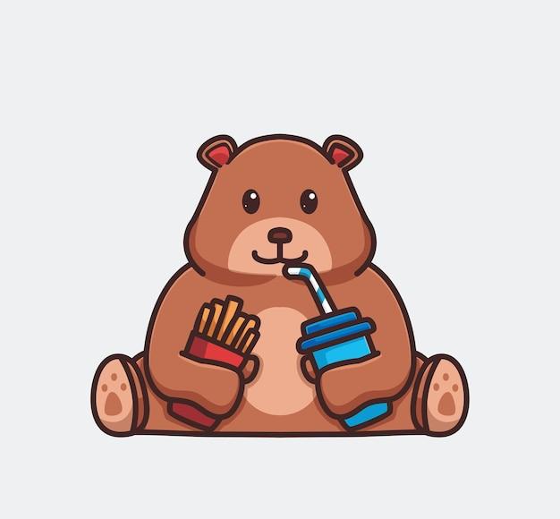 フライドポテトを食べてコーラを飲むかわいいハイイログマ。漫画の動物の食べ物の概念孤立したイラスト。ステッカーアイコンデザインプレミアムロゴベクトルに適したフラットスタイル。マスコットキャラクター