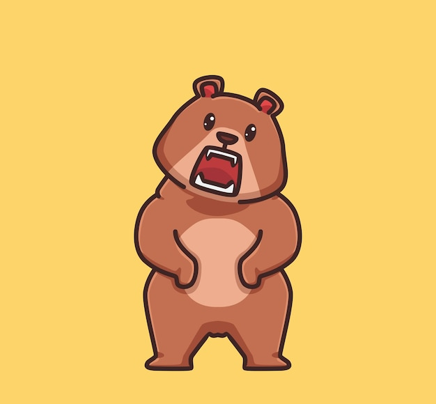 Cute grizzly bear standing scream. cartoon animal nature concept isolated illustration. flat style suitable for sticker icon design premium logo vector. mascot character