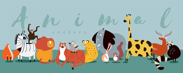 Cute group of wild animals vector