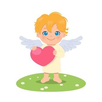Милый мальчик ангел-хранитель держит большое сердце. день святого валентина. плоский мультяшный стиль.