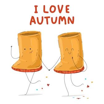 Симпатичные резиновые сапоги пара векторных мультфильмов осенью, изолированные на белом фоне.