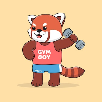 Cute gym red panda holding dumbbell