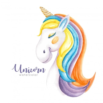 Cute hairy colorful unicorn watercolor