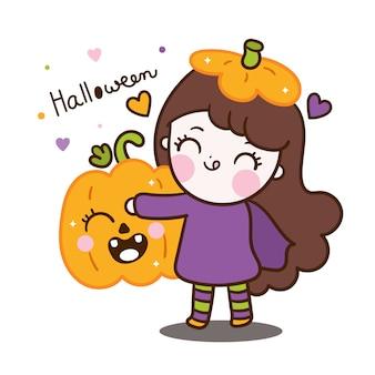 Cute halloween baby girl character hug pumpkin