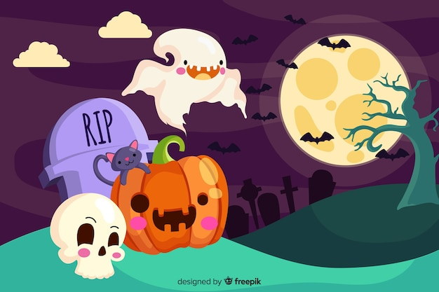 Cute halloween backgound in flat design