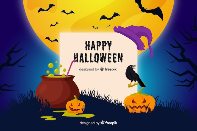 Cute halloween background in flat design