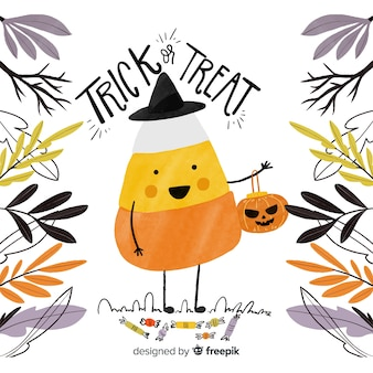 Cute halloween background hand drawn style