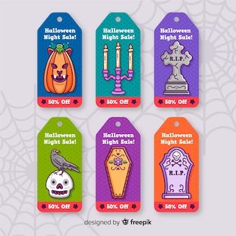 Cute halloween badges in coffin shapes