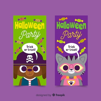 Cute halloween banners on flat design