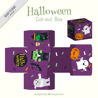 Cute halloween box with charaters