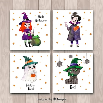 Cute halloween card collection in watercolor