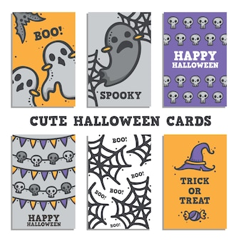 Cute halloween card design set