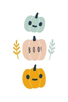 Симпатичная открытка на хэллоуин с иллюстрацией фонарей jack o