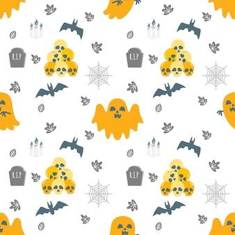 Cute halloween cartoon doodle seamless pattern