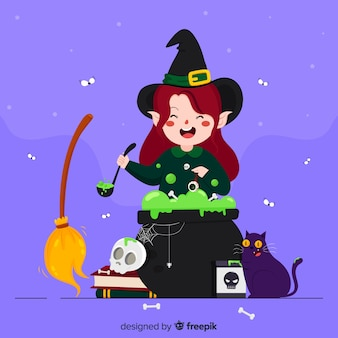 Cute halloween cartoon witch